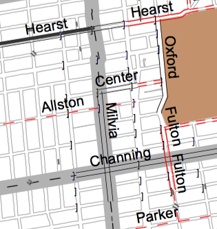 Solid red lines show the proposed bike lane on Fulton to Dwight in the city's 2005 bike plan.