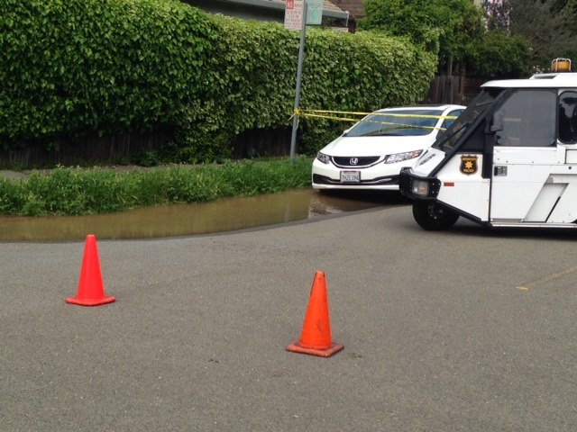 A water main today broke on Grant between Francisco and Delaware. Photo: Heidi Sachs