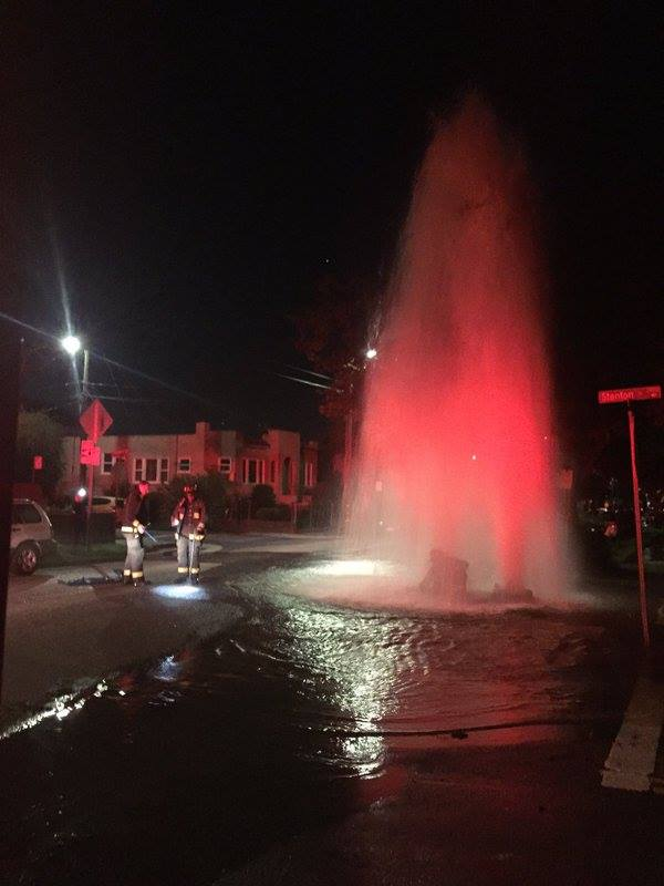 And this was last night at Russell and Stanton, as shared with us by Kester Allen. David Yee tells us he heard on the police scanner that a vehicle ran into a fire hydrant and drove off. Homes on Dohr were reportedly beginning to get flooded. Photo: Don Santos