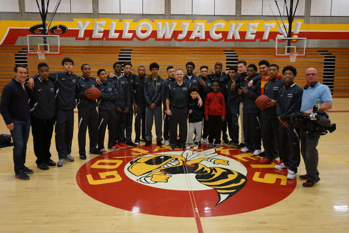 Yellowjackets boys basketball team on Thursday morning, before traveling to Sacramento for the state final. Photo: Mark Coplan/BUSD