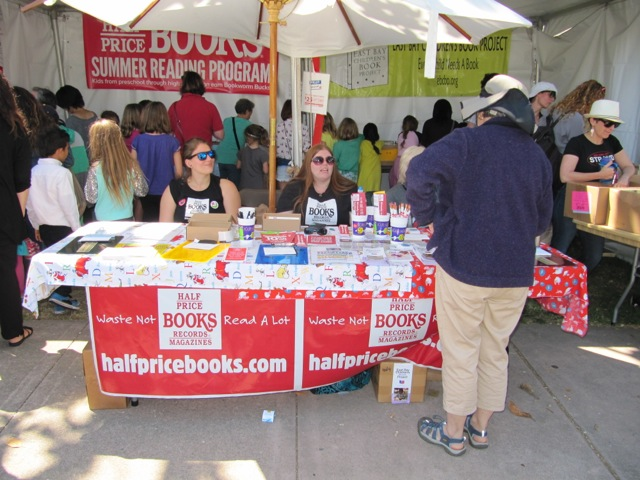 Half Price Books table and booth