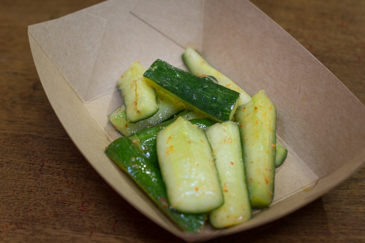 Spicy cucumbers ($3) from Shiba Ramen weren't really spicy and lacked crispiness. Photo: Benjamin Seto