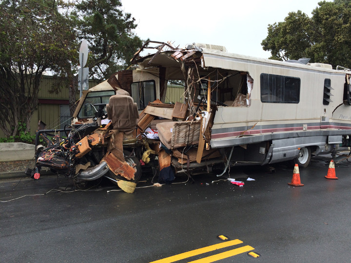 This RV was struck by a train Thursday night. The driver managed to escape the RV but sustained serious injuries from flying debris related to the crash. Photo: Sonya Mann
