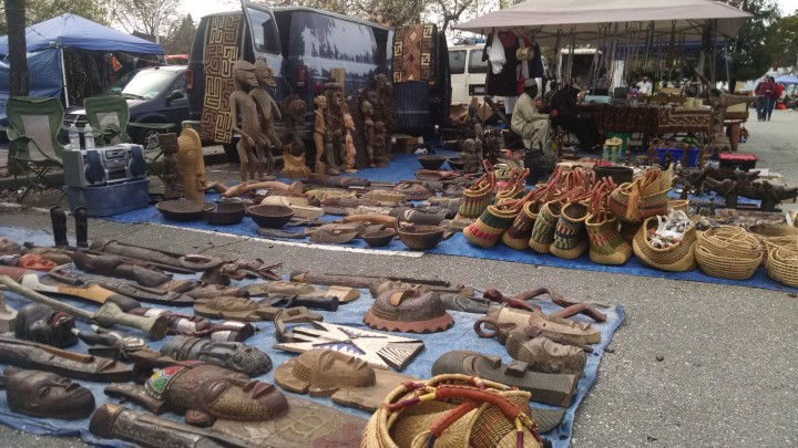 African art and objects on display at the Berkeley Flea Market by Andrew H