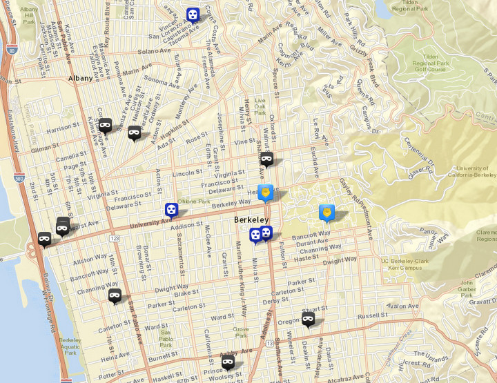 There were nine burglaries (shown in black) reported over this period, via CrimeMapping.com. The prior week there were 13. There was also four robberies (in blue), following seven the prior week. Click the map for a list.