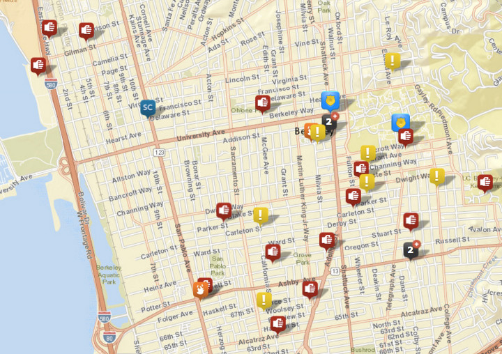 Shown above: assaults or batteries, weapon calls, sexual assaults, arsons and disturbances. Click the image for a list. Source: Crimemapping.com