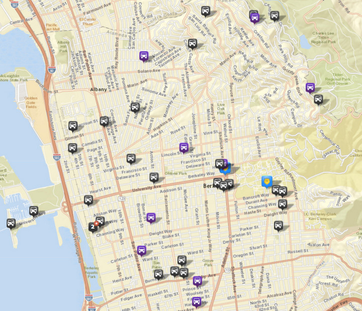 There were 29 thefts or burglaries from vehicles, via CrimeMapping. There were 42 the prior week. There were also nine vehicles stolen (in purple). Click the map for a list of incidents.