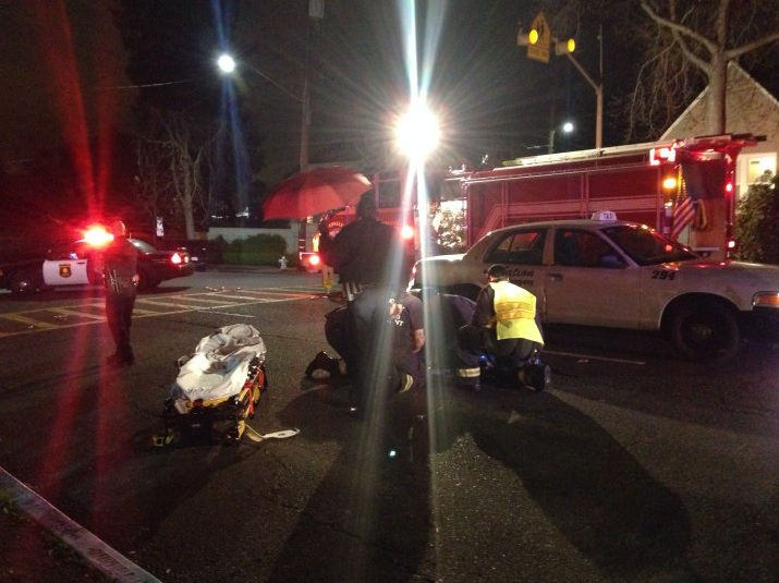 A fourth-grader was struck by a car Tuesday on a crosswalk on Claremont Avenue and suffered two broken legs. Photo: Kevin Chang