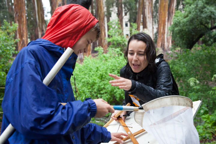 UC Berkeley student Karen Gallardo holds a spider found by Jakob Rees in the Eucalyptus Grove. Photo: Kelly Sullivan