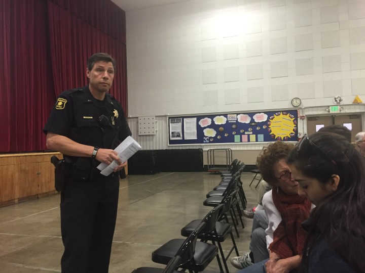 Berkeley Police Lt. Andrew Rateaver addresses the crowd at Sunday's neighborhood public safety meeting. Photo: Emily Dugdale