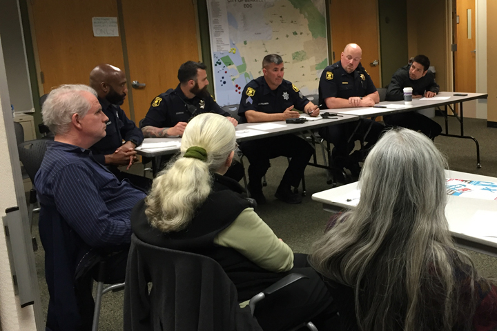 Community members and police met Monday night to discuss crime prevention efforts. Photo: Emilie Raguso
