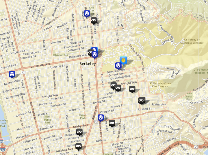 There were 10 burglaries (shown in black) reported over this period, via CrimeMapping.com. The prior week there were four. There was also six robberies (in blue), following three the prior week. Click the map for a list.