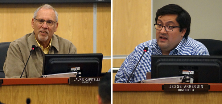 Mayoral candidates Laurie Capitelli and Jesse Arreguín butted heads Tuesday night over the minimum wage proposal. Photos: Mark Coplan