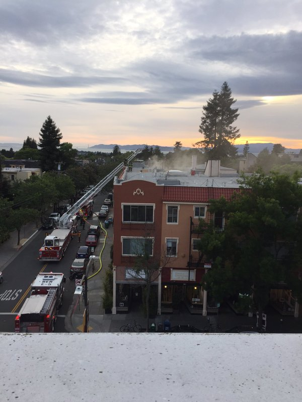 Fire at Shattuck and Delaware on April 26. Photo posted to Twitter at 7:08 p.m. by Kristin Aswell