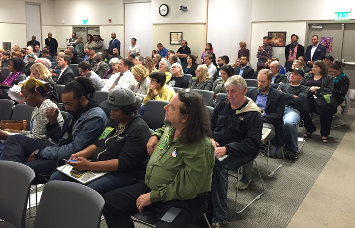 Supporters of the Amoeba application, in the foreground, listened to the council discussion. Photo: Emilie Raguso