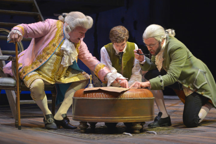 (l to r) Matt DeCaro (Squire Trelawney), John Babbo (Jim Hawkins), and Alex Moggridge (Dr. Livesey) in Mary Zimmerman's Treasure Island at Berkeley Rep. Photo courtesy of Kevin Berne/Berkeley Repertory Theatre