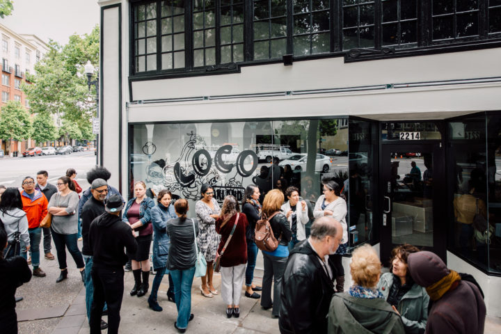 The line outside of LocoL on opening day. Photo: Audrey Ma
