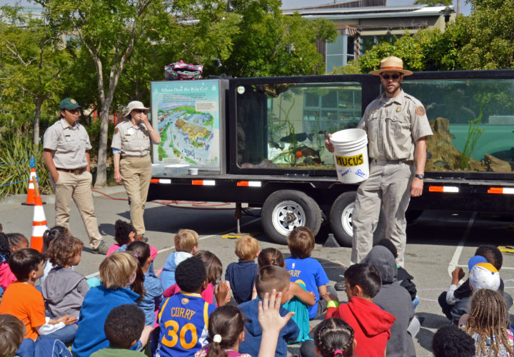 Cragmont Elementary students enjoy the East Bay Regional Parks Mobile Fish Exhibit brought to the school in recognition of its great science teaching. Photo: CSR