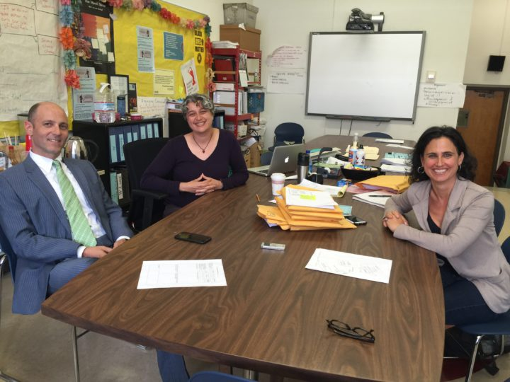 "The Berkeley High Redesign Team has spent many hours in this room in the ""C"" Building considering mechanisms to change school culture. From left, to right, Sam Pasarow, BHS principal, Hasmig Minassian, history teacher at CAS and co-facilitator of the Redesign Team, and Tamara Friedman, the other co-facilitator and the BHS professional development coordinator. Photo: Frances Dinkelspiel"
