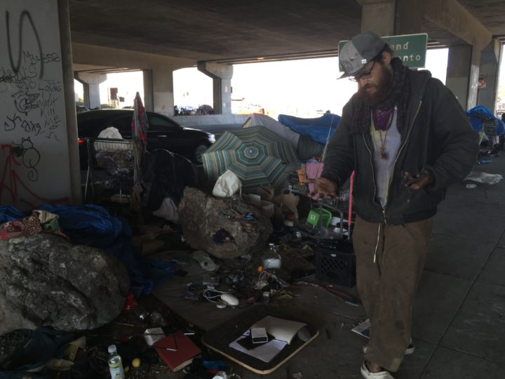 A man living under the Gilman underpass last week. Photo: Frances Dinkelspiel