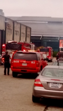 A fire that broke out in a paint booth was quickly contained. Photo: Teresa Martinez