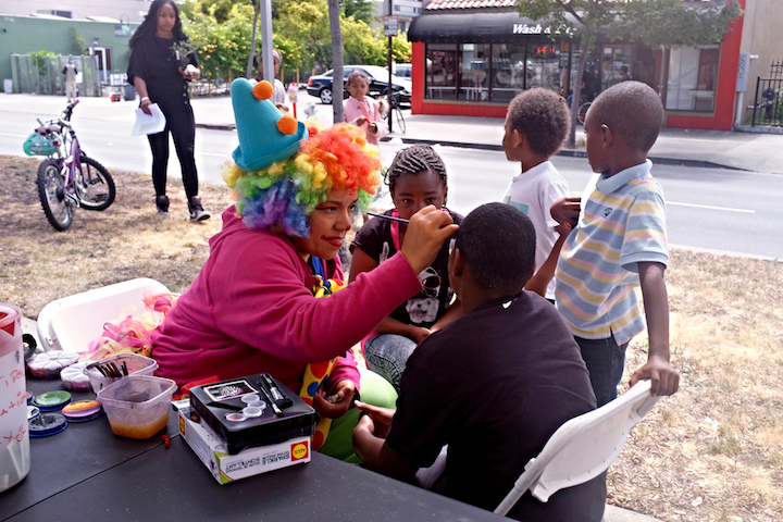 Food, music, children's face painting were all part of Sunday's block party honoring Rumford, which also had a community-building objective. Photo: Ted Friedman