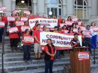 "Nurses are leading the charge to ""Save Alta Bates."" They rallied at Old City Hall on Tuesday night. Photo: Andy Katz"
