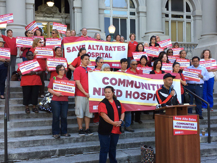 """Nurses are leading the charge to """"Save Alta Bates."""" They rallied at Old City Hall on Tuesday night. Photo: Andy Katz"""