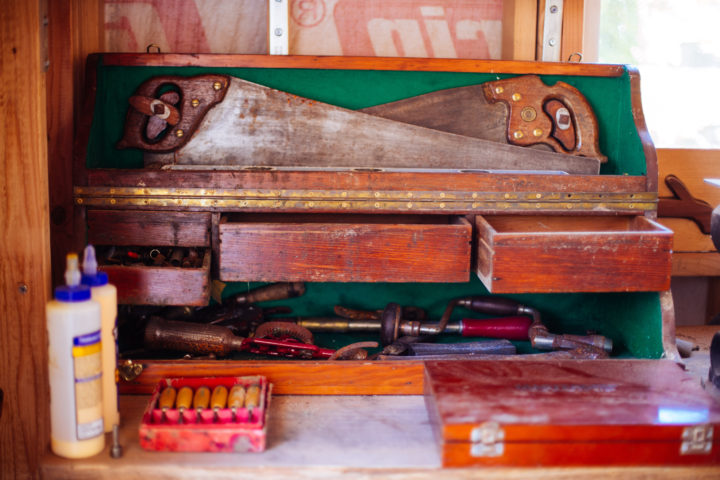 Strong's grandfather's toolbox. Photo: Melati Citrawireja