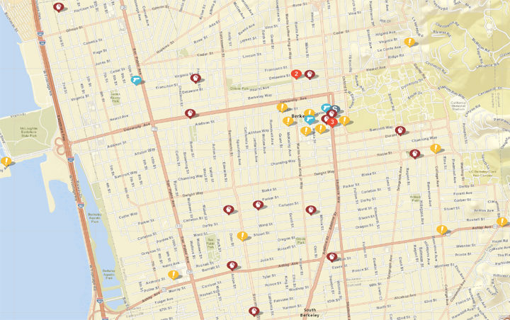 """Shown above: assaults or batteries, weapon calls, sexual assaults, arsons and disturbances. Click the image for a list. (Click """"show crime report"""" to see the list.) Source: Crimemapping.com"""