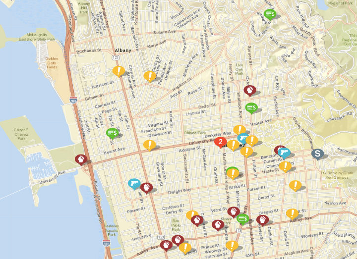 "Shown above: assaults or batteries, weapon calls, sexual assaults, arsons, fraud and disturbances. Click the image for a list. (Click ""show crime report"" to see the list.) Source: Crimemapping.com"