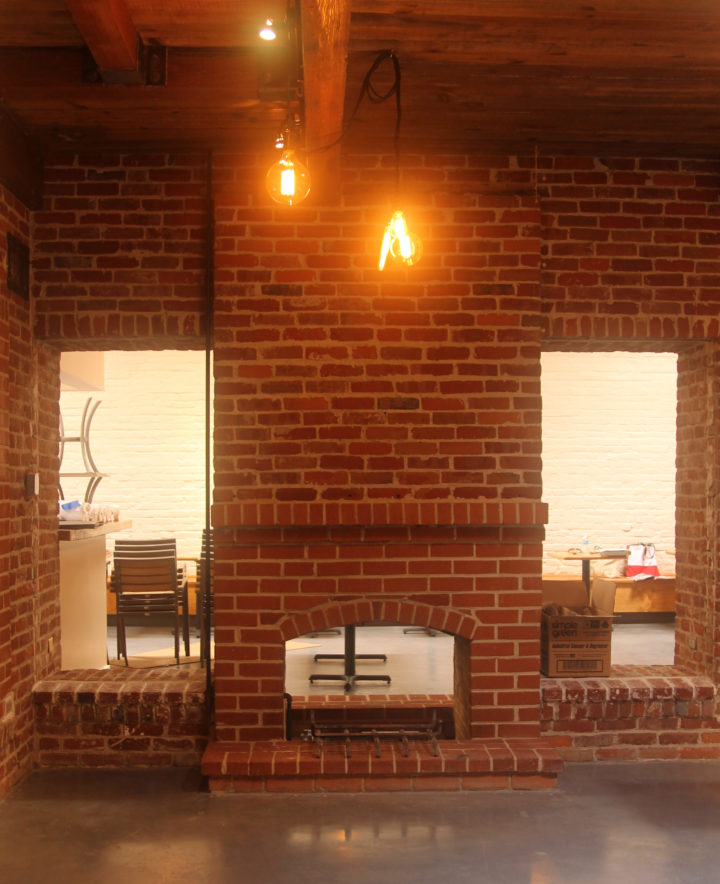 The fireplace, looking from the bar to the dining room, at the future Agrodolce. Photo: Kate Williams