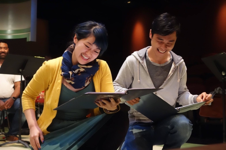 "Monica Ho and Jonny Hsu Lee, as ""Yook Mei"" and ""Lit"" in a stage reading of Gold Mountain at the Aurora Theatre Berkeley. Photo: Justin Anthony Long"