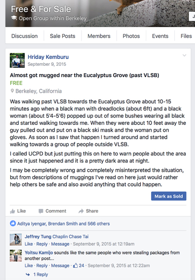After a post on a UC Berkeley student Facebook group took off, WIldfire was born. Source: Wildfire