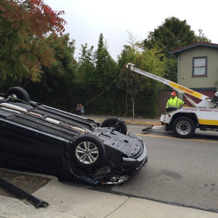 One person went to the hospital after this crash Monday on Gilman. Photo: Graham Chisholm