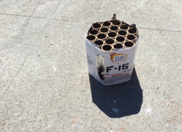 This fireworks container was found at Dohr and Oregon. Photo: Mel Hofmann