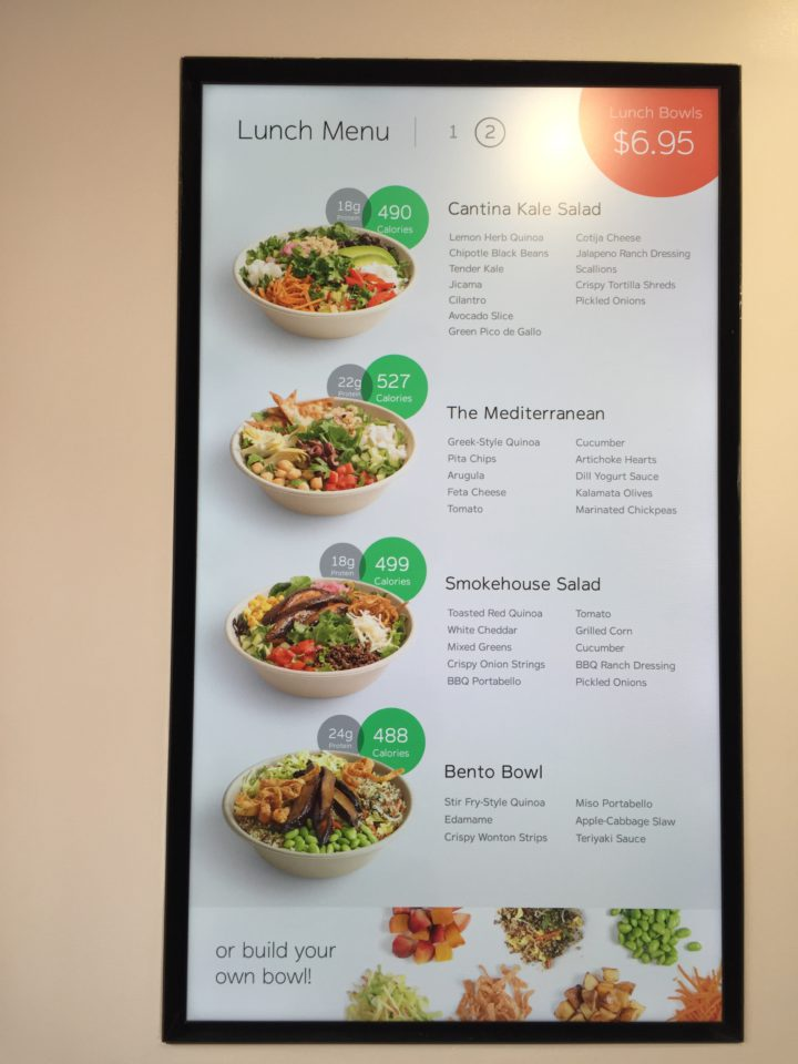 The Eatsa menu