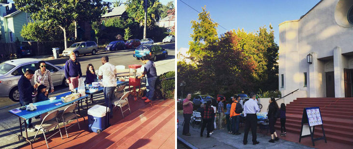National Night Out on Parker Street on the steps of Berkeley Adventist Church. Photo: Angel Rivero