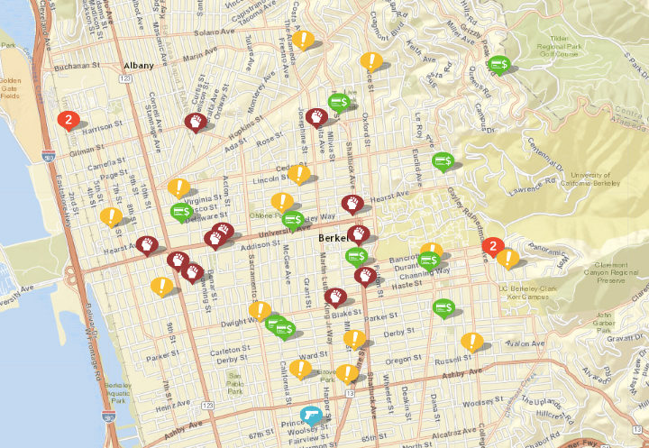 """Shown above: assaults or batteries, weapon calls, sexual assaults, arsons, fraud and disturbances. Click the image for a list. (Click """"show crime report"""" to see the list.) Source: Crimemapping.com"""