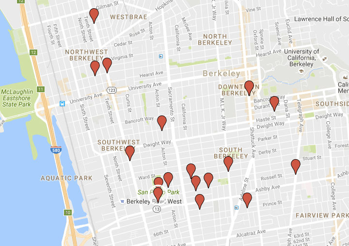 Gunfire-related incidents in Berkeley in 2016. Image: Google Maps