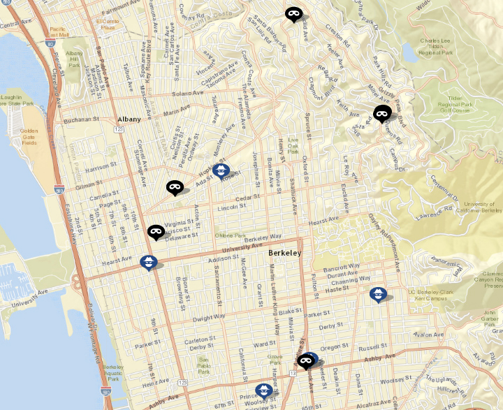 "Click the map to see the list of robberies and burglaries. (Click ""show crime report"" to see the list.) Source: CrimeMapping"