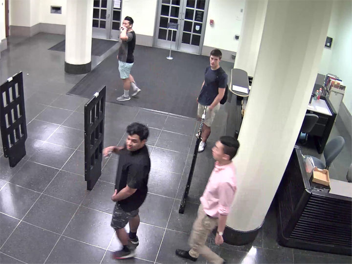 UCPD is looking for these young men in connection with a vandalism at Doe Library. Photo: UCPD