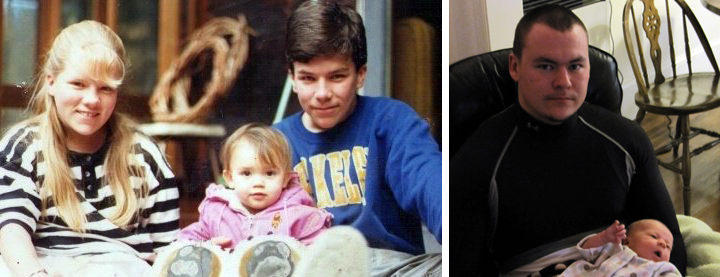 Left: Britt with her siblings Sylvie and Jason, as children. Right: More recently, their brother Gaby, holding Elsa Amelie. Photos: Courtesy