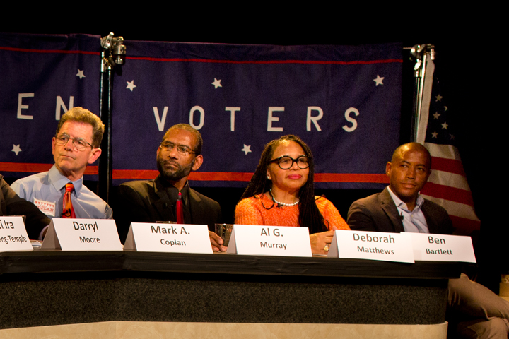 District 3 candidates: From right, Ben Bartlett, Deborah Matthews, Al Murray and Mark Coplan. Photo: Emilie Raguso