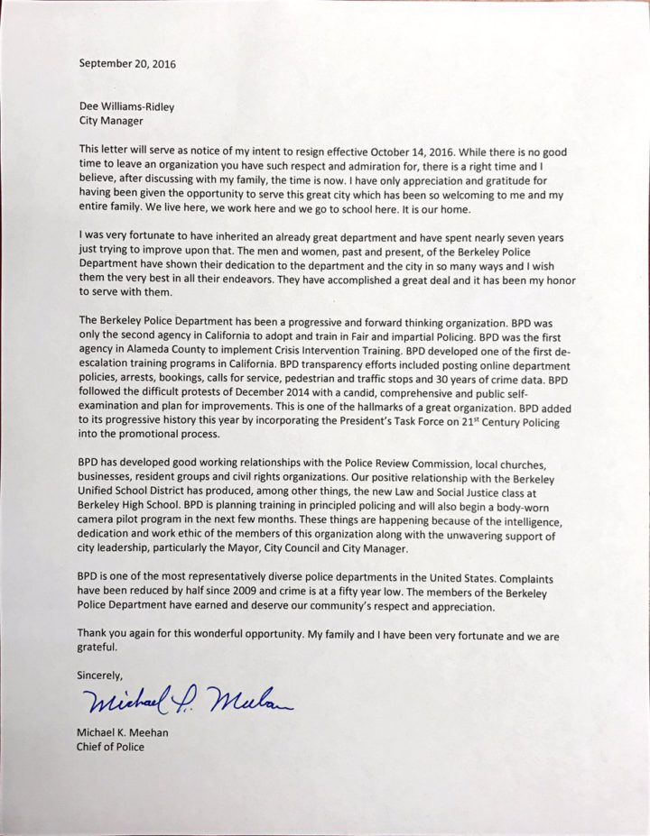 Chief Meehan's resignation letter.