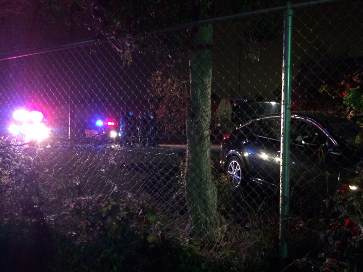A car crashed on the basketball court at Strawberry Creek Park during a police chase Thursday. Photo: Citizen reporter