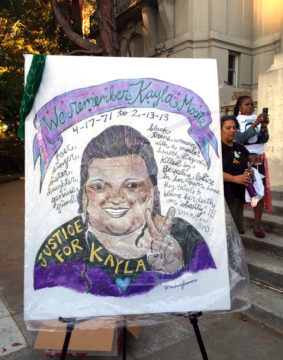 Kayla Moore protest 9/20/16. Photo: Frances Dinkelspiel