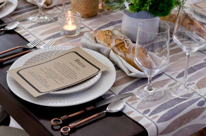 Rustic dinner party table setting at a Salt & Honey event. Photo: Courtesy of Salt & Honey