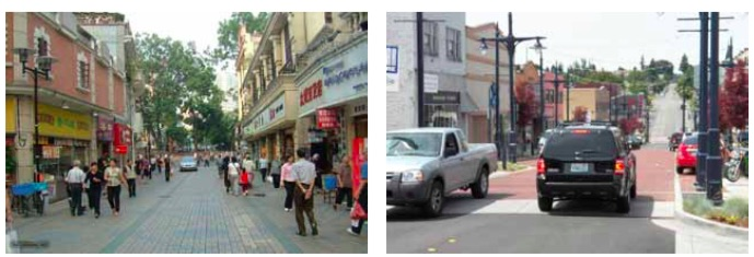 Shared Street Examples. Shared streets are common in Europe and Asia (at left), and are increasingly found in the United States (at right). Shared Streets work best when they have a single horizontal surface with pavers. Bollards, rather than curbs, delineate where vehicles can pass.