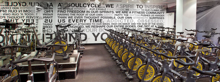The interior of a SoulCycle studio. Photo: SoulCycle